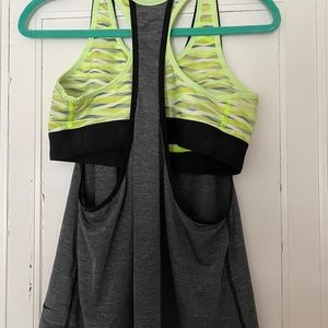 Nike Gray Tank with bright Sport Bra attached